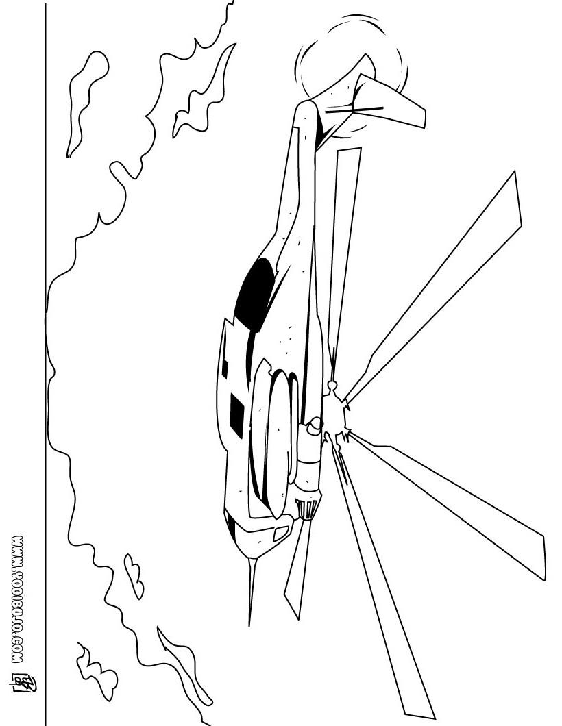 Dibujo para colorear : un helicoptero militar