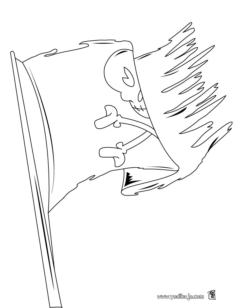 Dibujo para colorear : bandera de pirata