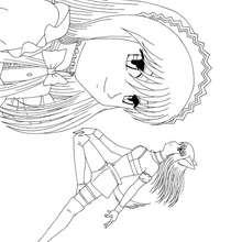 Dibujo Renee de camarera - Dibujos para Colorear y Pintar - Dibujos para colorear MANGA - Dibujos para colorear MEW MEW POWER  - Dibujos para pintar MEW MEW POWER