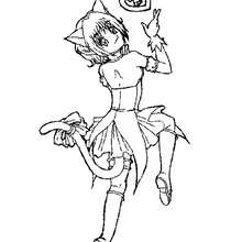 Dibujo de Zoey transformada en mew mew - Dibujos para Colorear y Pintar - Dibujos para colorear MANGA - Dibujos para colorear MEW MEW POWER  - Dibujos para pintar MEW MEW POWER