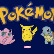 POKEMON: fondo azul con Jigglypuff, Pikachu y Squirtle