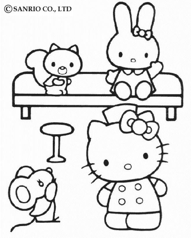 Dibujos para colorear hello kitty y sus amigos - es.hellokids.com
