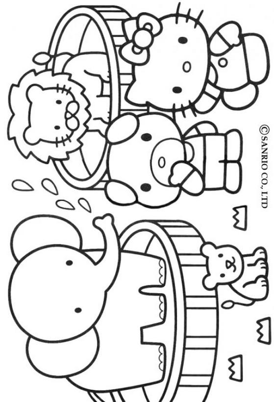 Dibujos para colorear hello kitty zoológico - es.hellokids.com