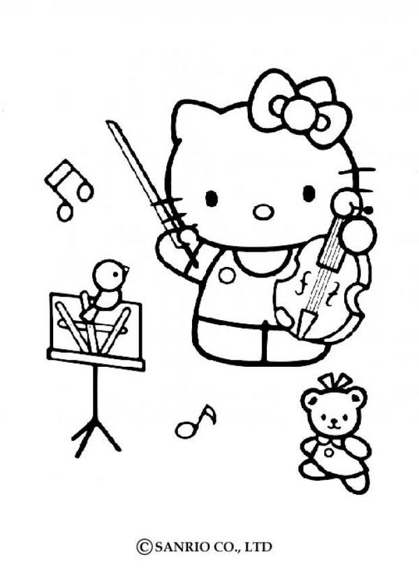 Dibujos para colorear hello kitty música - es.hellokids.com
