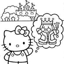 Dibujo para colorear : Kitty piensa en el rey