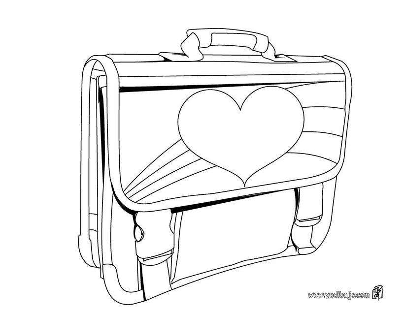 Dibujo para colorear : cartera escolar niña