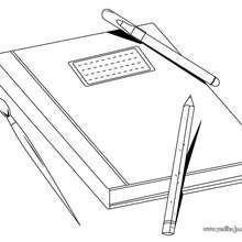 Dibujo libro escolar - Dibujos para Colorear y Pintar - Dibujos para colorear de la ESCUELA - Dibujos para colorear MATERIAL ESCOLAR