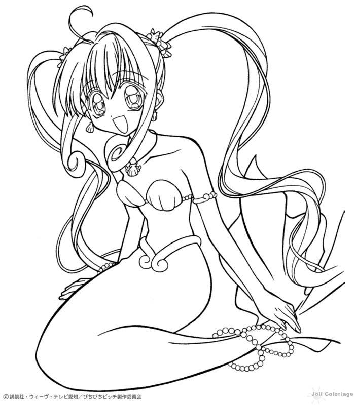Dibujo para colorear : Luchia sirena (mermaid melody)