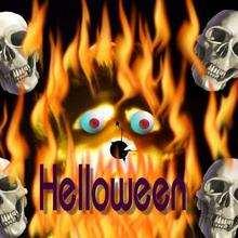 Fondo halloween calaveras y fuego