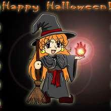 Fondo halloween calabazas y bruja