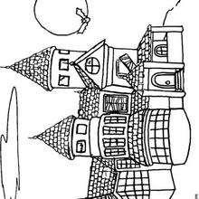 Castillo encantado - Dibujos para Colorear y Pintar - Dibujos para colorear FIESTAS - Dibujos para colorear HALLOWEEN - Dibujos para colorear CASA ENCANTADA