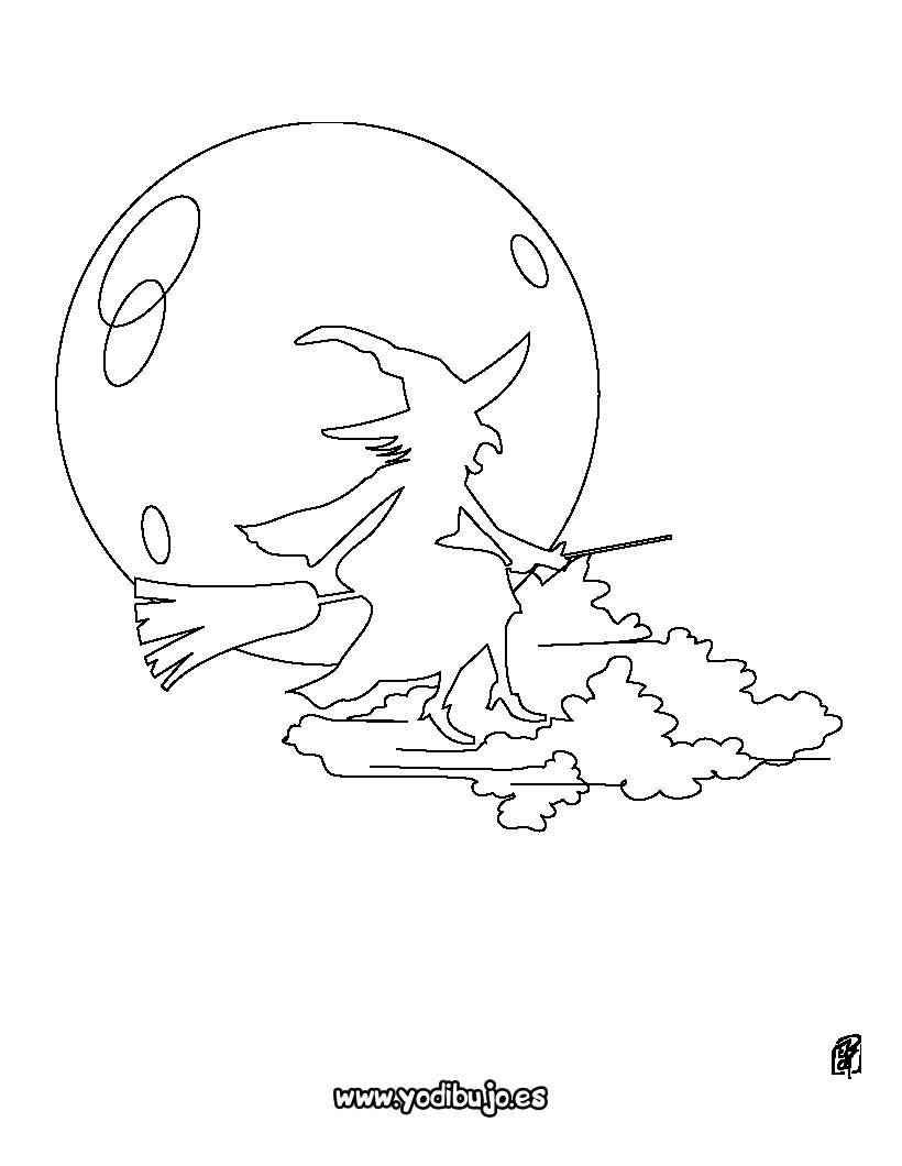 Dibujos para colorear halloween: la bruja en su escoba - es ...