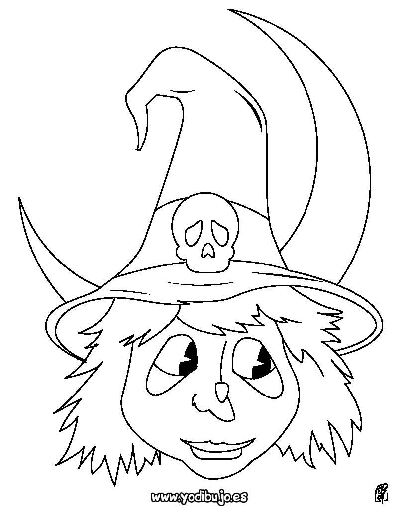 Dibujos para colorear halloween: retrato de la bruja - es.hellokids.com