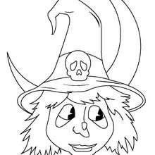 Dibujo para colorear : halloween: retrato de la bruja
