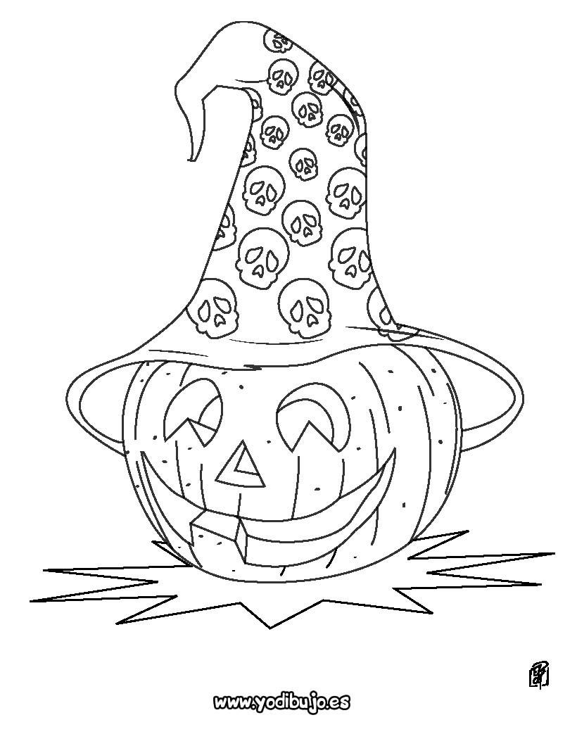 Dibujos para colorear halloween calabaza con sombrero - Calabazas para imprimir ...