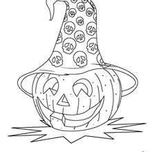 Dibujo para colorear : halloween: calabaza con sombrero