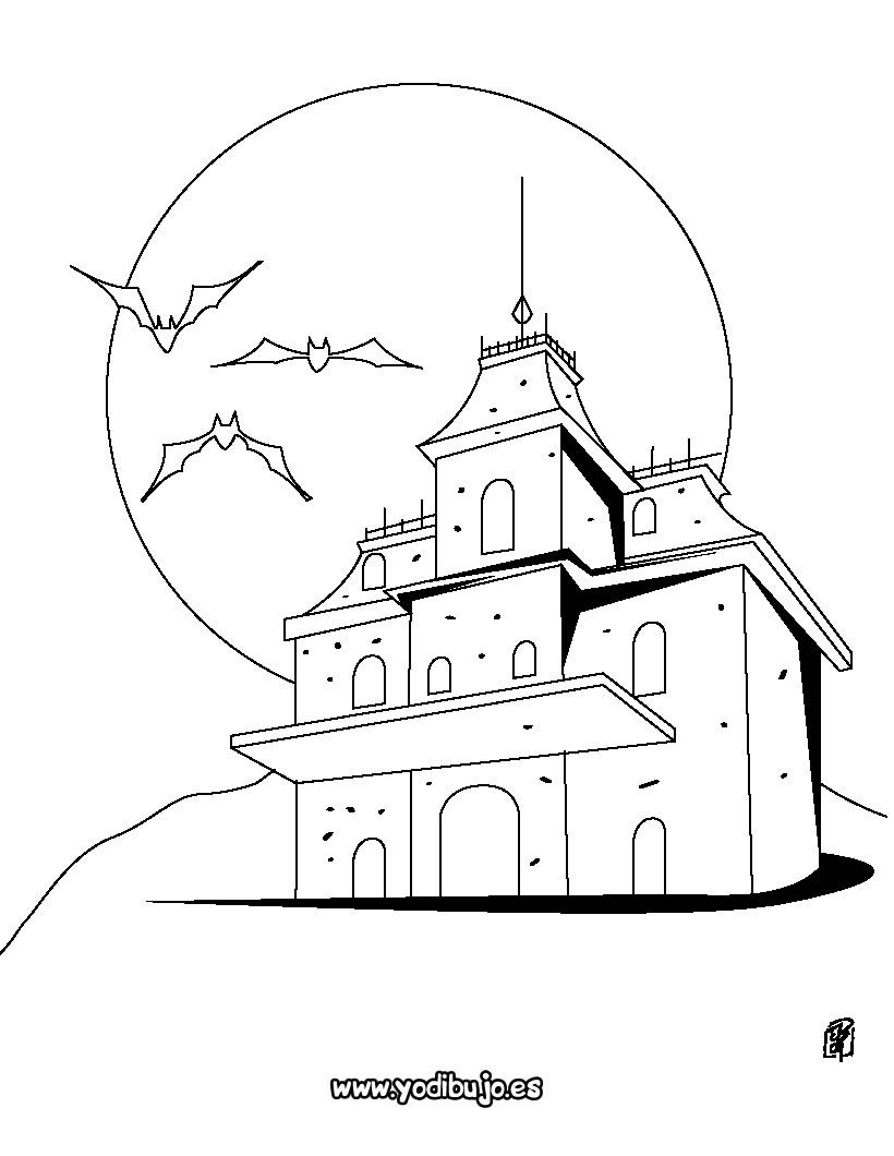 Dibujo para colorear : Casa encantada