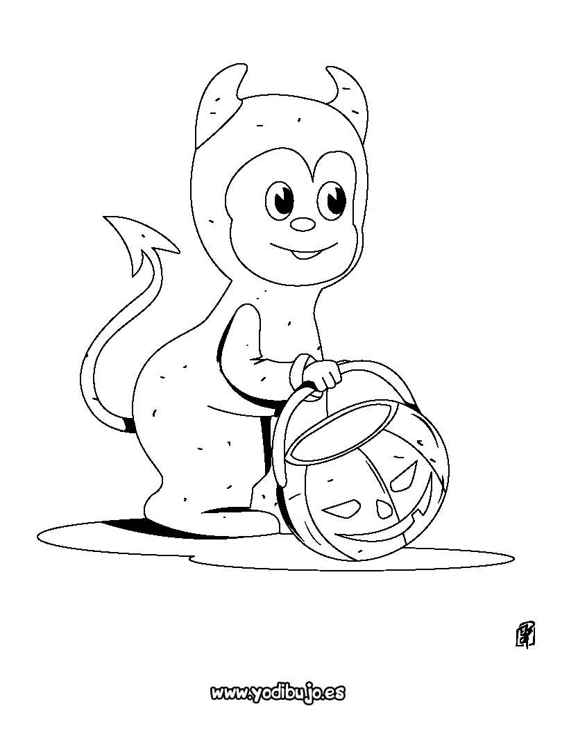 Dibujo para colorear : Diablo chiquito de Halloween