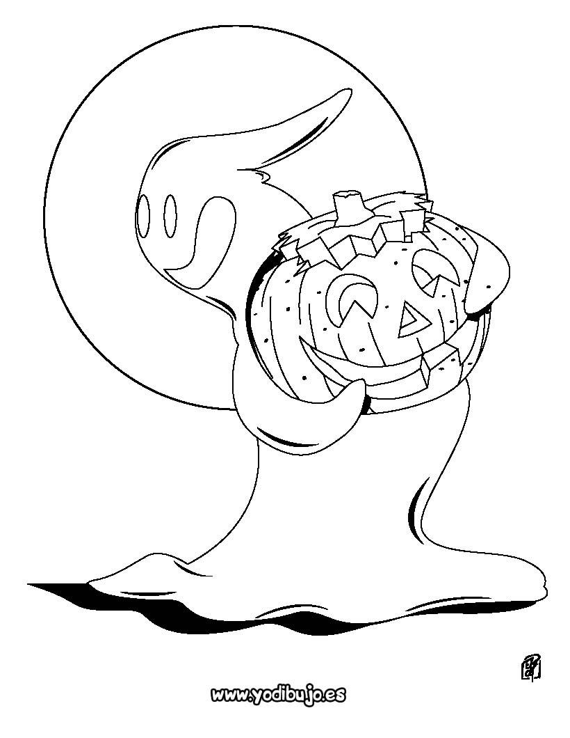 Dibujos para colorear halloween: calabaza y fantasma - es.hellokids.com