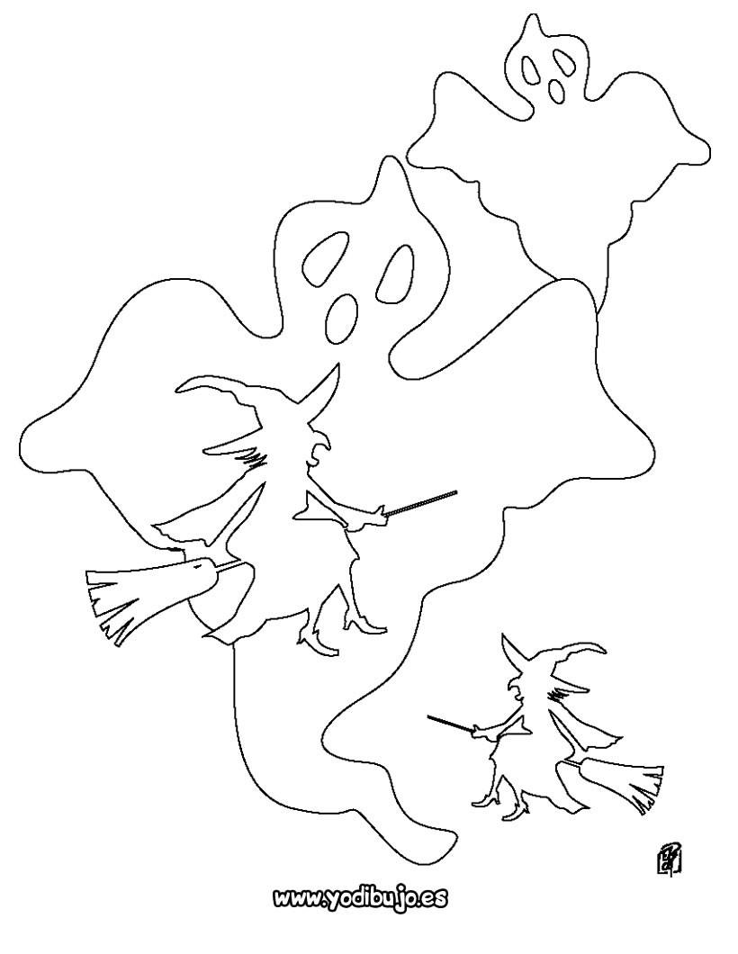 Dibujo para colorear : halloween: fantasma y bruja