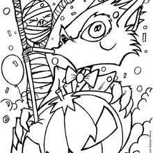 Gato negro con calabaza - Dibujos para Colorear y Pintar - Dibujos para colorear FIESTAS - Dibujos para colorear HALLOWEEN - Dibujo para colorear GATO NEGRO halloween