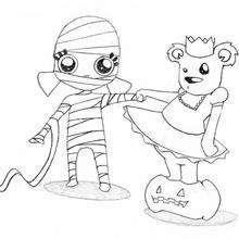 Dibujo para colorear : El oso y la momia de Halloween