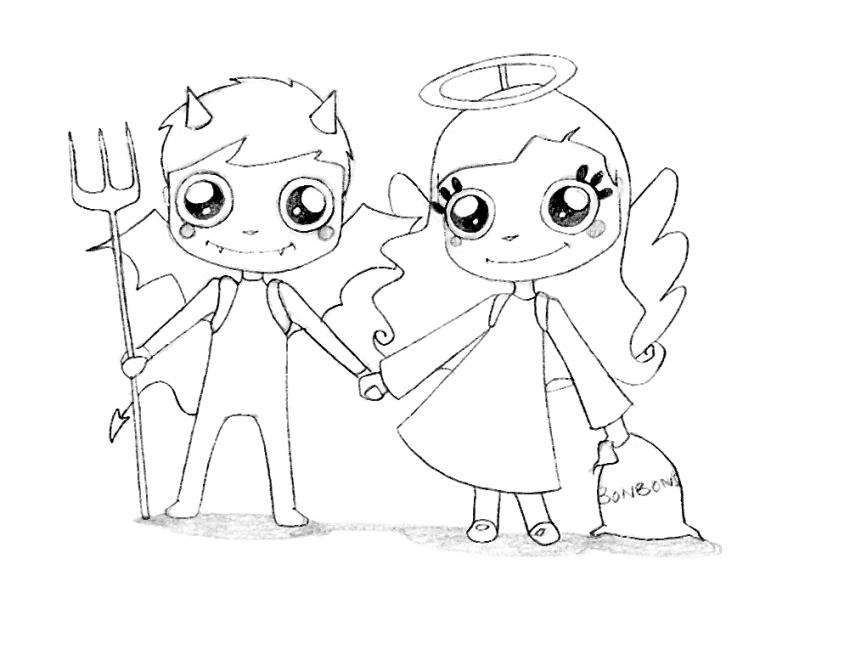 Dibujo para colorear : El angel y el demonio de Halloween