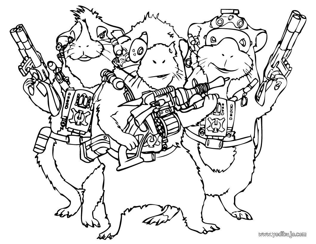 Dibujos para colorear juarez, darwin y blaster - es.hellokids.com