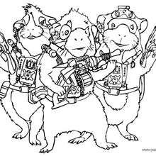 Dibujo para colorear : Juarez, Darwin y Blaster