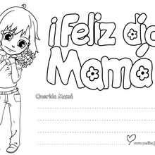 Letrero niña ¡Feliz día Mamá! - Manualidades para niños - Manualidades infantiles - Marcadores y letreros muy chulos - Marcapaginas DIA DE LA MADRE