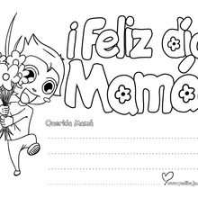 Manualidad infantil : Letrero niño ¡Feliz día Mamá! para pintar