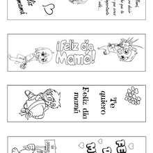 Manualidad infantil : Marcador de página Día de la Madre para colorear