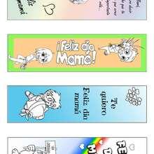 Manualidad infantil : Marcapáginas Día de la Madre para colorear