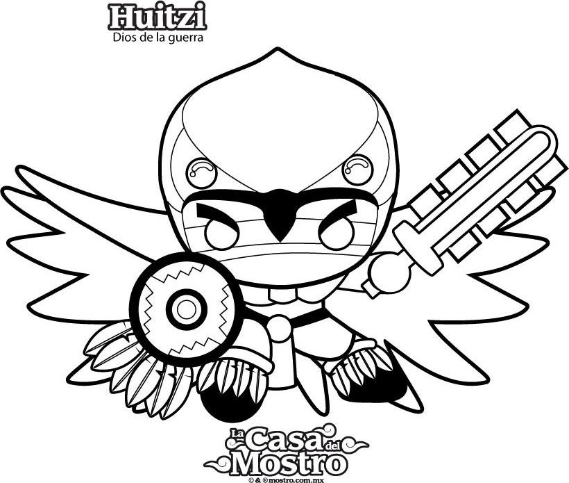 Dibujos para colorear huitzi, el dios de la guerra - es.hellokids.com