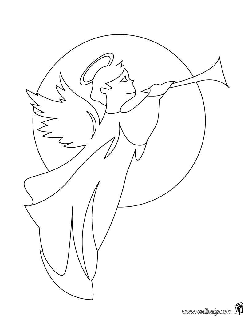 Dibujos para colorear un angel de navidad con grandes alas - es ...