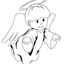 Dibujo Angel Gabriel para colorear - Dibujos para Colorear y Pintar - Dibujos para colorear FIESTAS - Dibujos para colorear de NAVIDAD - Dibujos de ANGELES NAVIDAD para colorear
