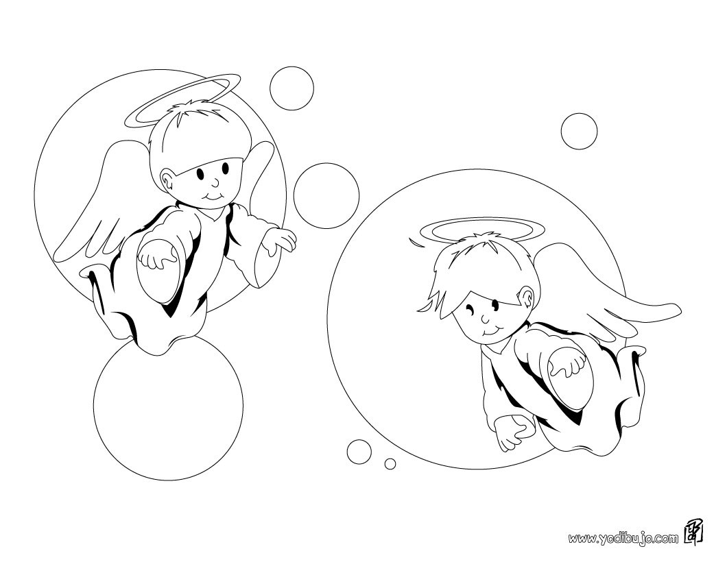 Dibujos para colorear angelitos - es.hellokids.com