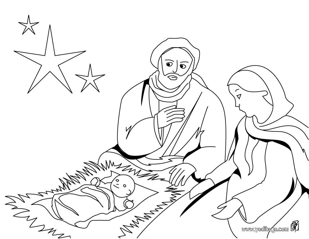 Dibujo para colorear : Maria, San Jose y al niño Jesús