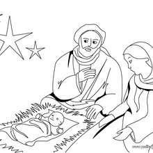 Dibujo para pintar Maria, San Jose y al niño Jesús - Dibujos para Colorear y Pintar - Dibujos para colorear FIESTAS - Dibujos para colorear de NAVIDAD - Dibujos para colorear de NAVIDAD NACIMIENTO - Dibujos para colorear PORTAL DEL BELEN