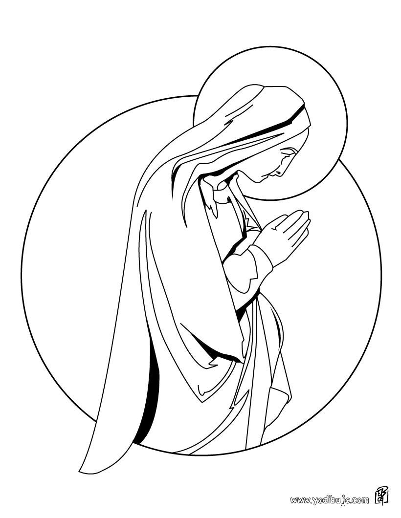 Dibujo para colorear : la virgen Maria