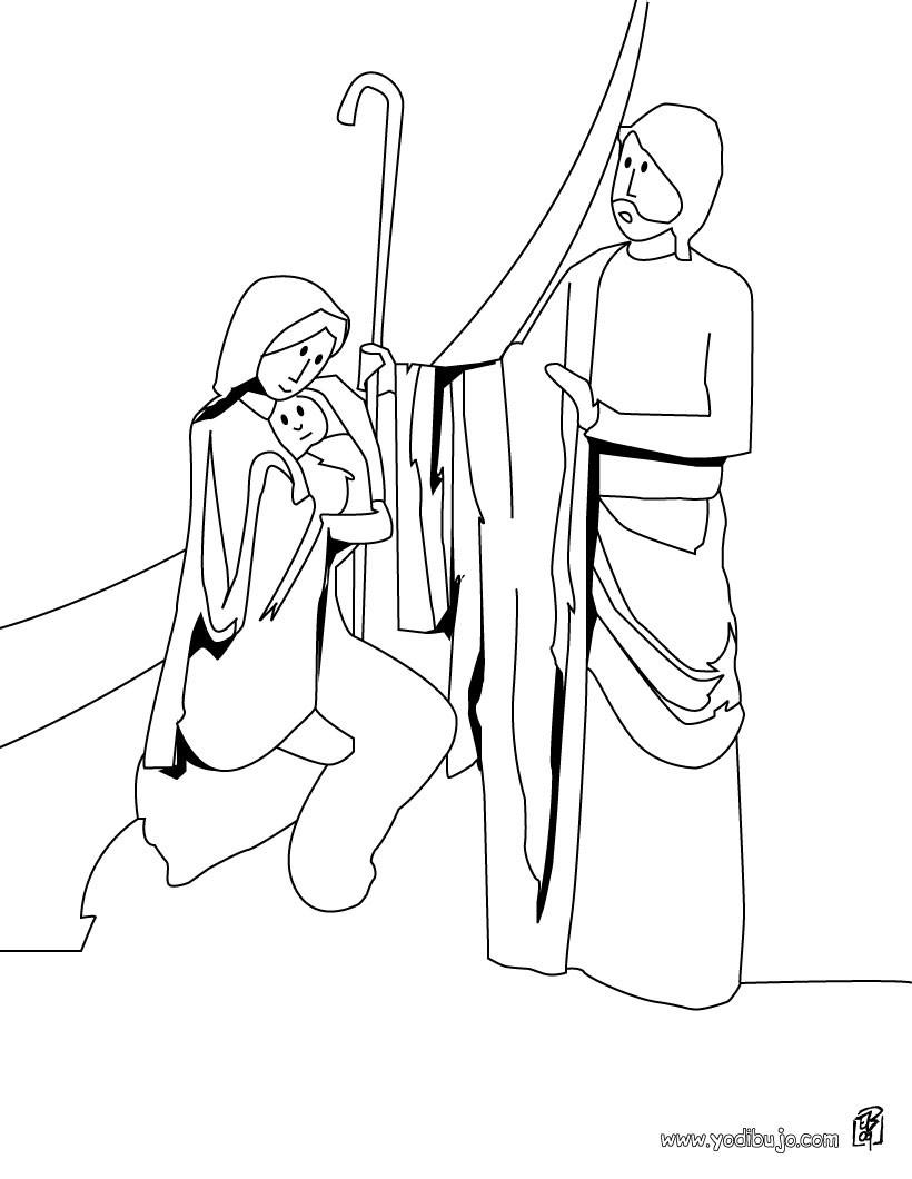Dibujo para colorear : San Jose, Jesus y María