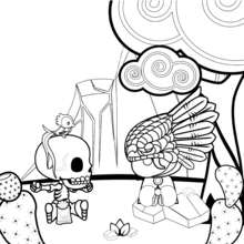 Dibujo para colorear : Mic y Quetz