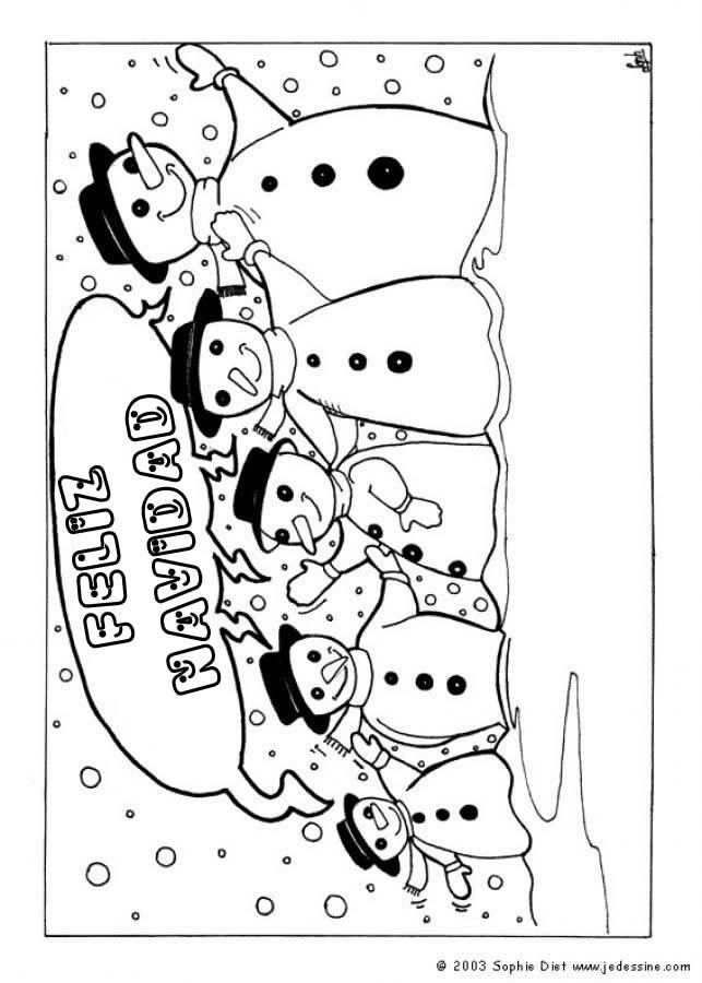 Dibujo para colorear : muñecos de nieve