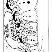 Dibujo de muñecos de nieve - Dibujos para Colorear y Pintar - Dibujos para colorear FIESTAS - Dibujos para colorear de NAVIDAD - Colorear dibujos MUÑECOS DE NAVIDAD