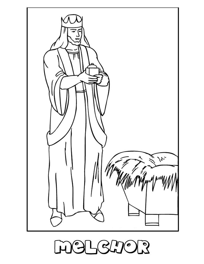 Dibujos para colorear melchor con el niño jesús - es.hellokids.com