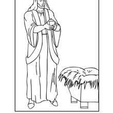 Dibujo para colorear : Melchor con el niño Jesús