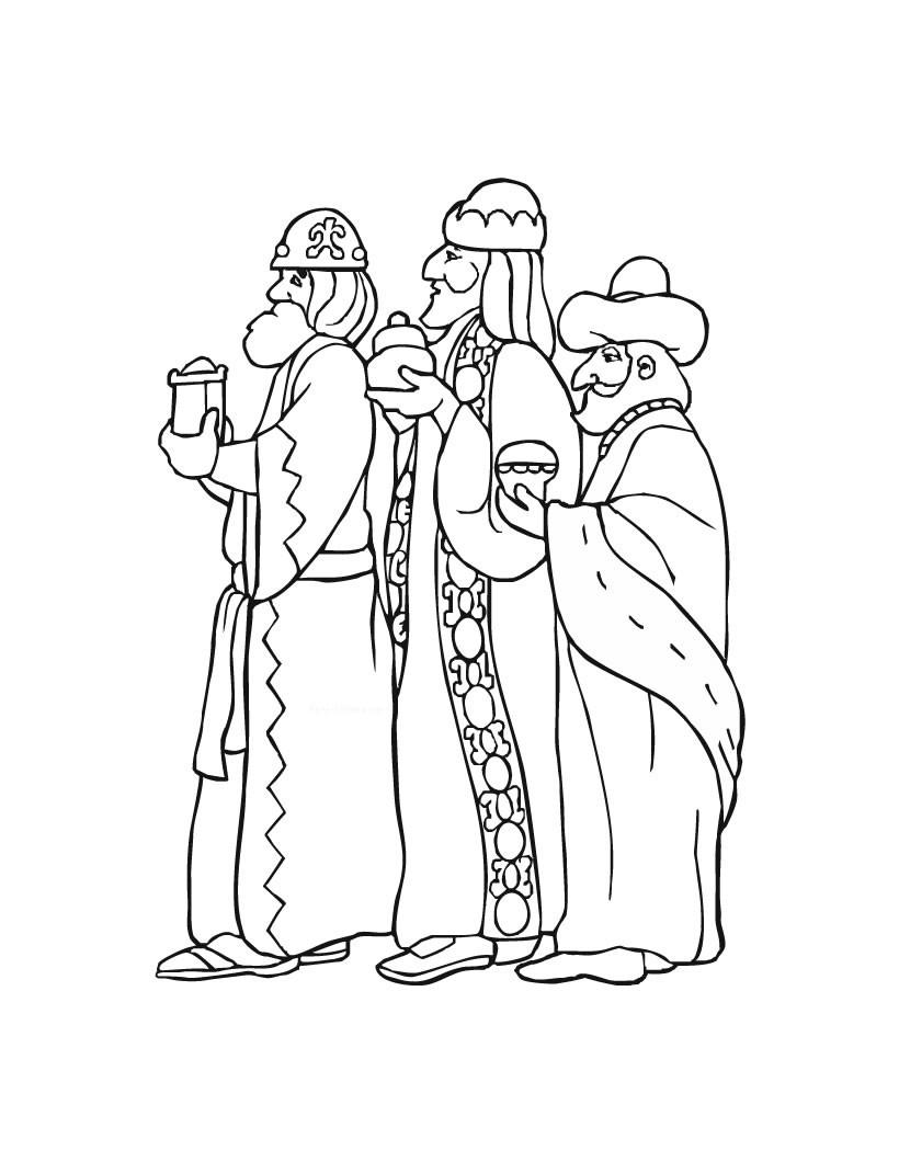Dibujo para colorear : los 3 Reyes Magos