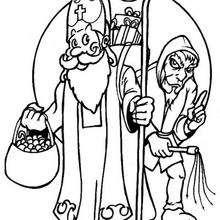 Dibujo Santa Claus y el Carbonilla para pintar - Dibujos para Colorear y Pintar - Dibujos para colorear FIESTAS - Dibujos para colorear de NAVIDAD - Dibujos para colorear SANTA CLAUS - SANTA CLAUS pintar