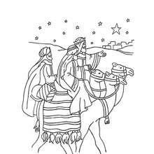 Dibujo para colorear : Baltasar y los Reyes Magos en sus camellos