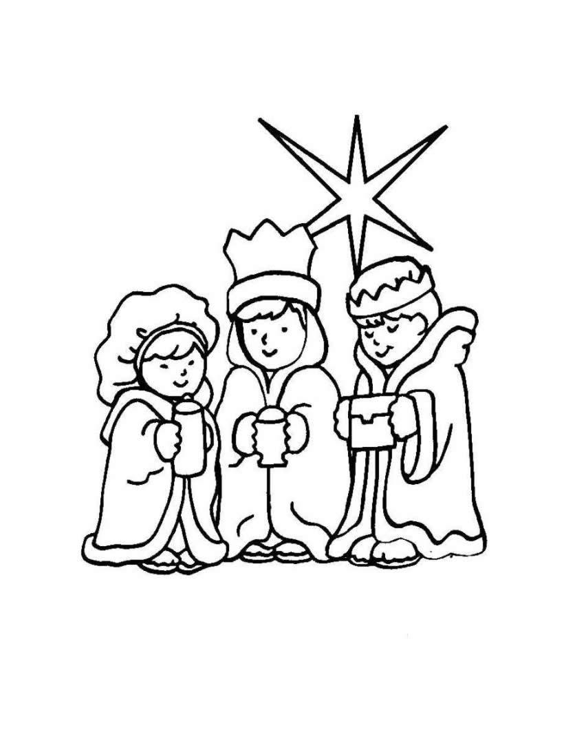 Dibujo para colorear : los Reyes Magos y la estrella del pastor
